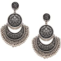 Yellow Chimes Tribal Muse Traditional Chand Bali Earrings for Women (Silver) (YCFJER-839CHNDBL-SL)