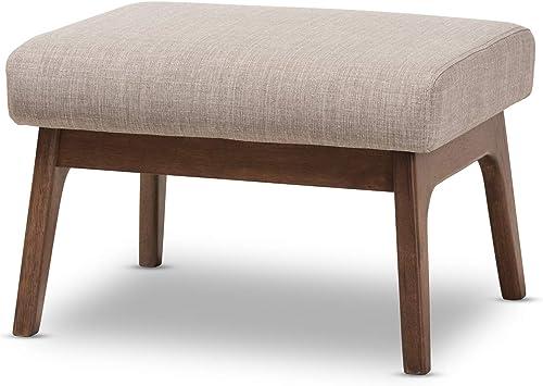 "Baxton Studio Bianca Mid-Century Wood Ottoman Mid-Century/Light Grey/Walnut Brown/Fabric Polyester 100 ""/Rubber Wood/"
