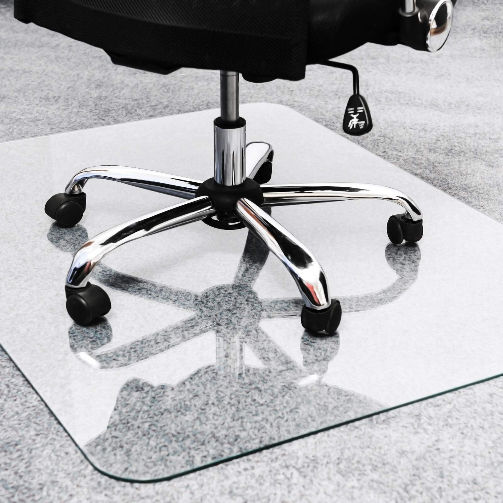 Floortex Cleartex Glaciermat, Reinforced Glass Executive Chair Mat for Hard Floors and All Pile Carpets, 36'' x 48'', Crystal Clear (FC123648EG) by Floortex (Image #4)