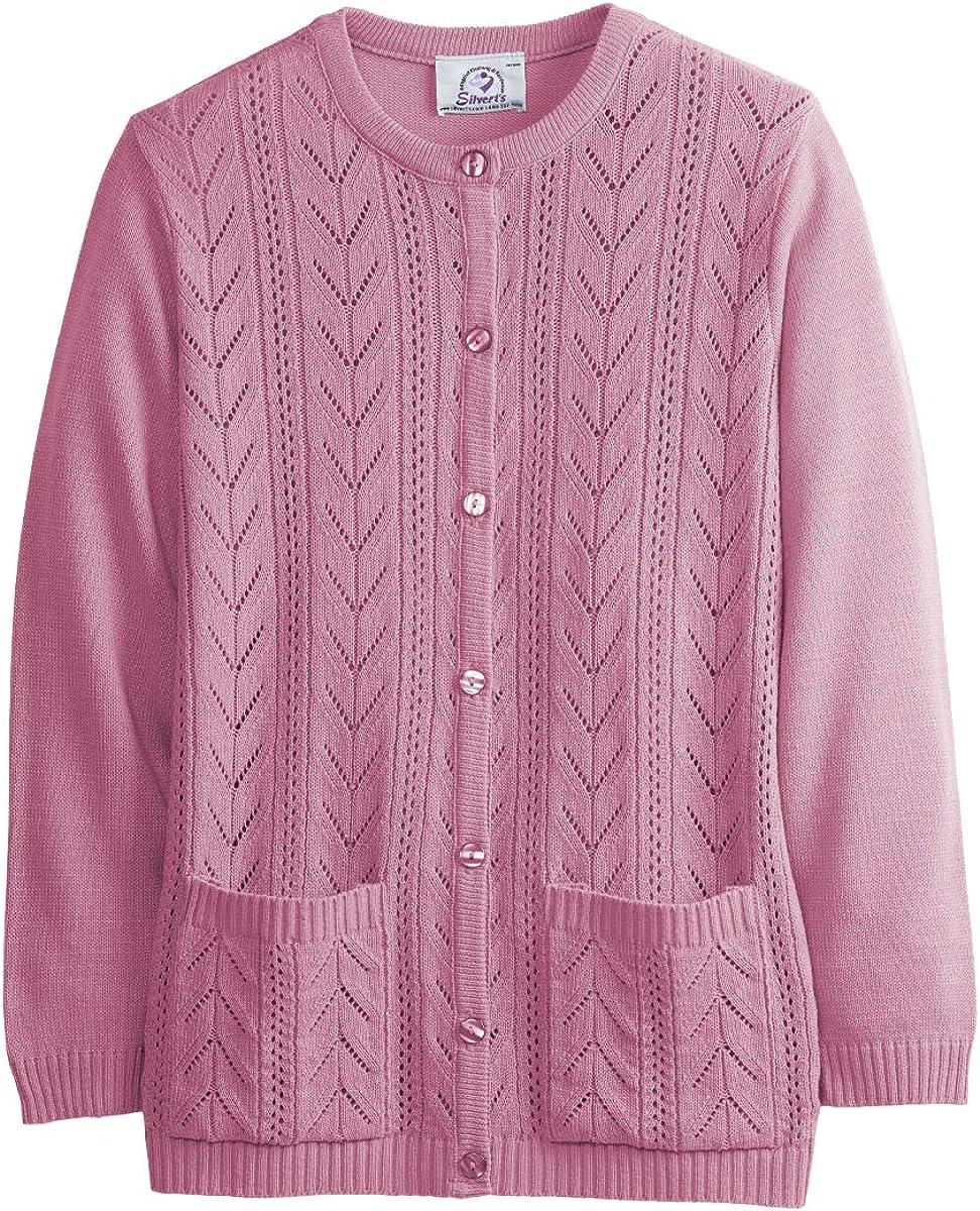 Womens Two Pocket Cardigan Sweater For Elderly Senior Women