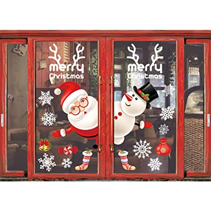 Cute Christmas Party.Shine Co Window Clings Christmas Stickers Window Decals Christmas Party Decorations Supplies Cute Santa And Snowman