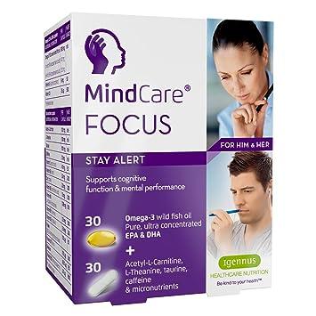 MindCare FOCUS,permanezca alerta,suplemento alimenticio con aceite de pescado salvaje omega-3