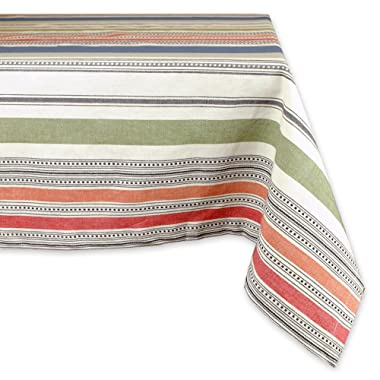 DII 100% Cotton, Machine Washable, Dinner, Summer & Picnic Tablecloth, 60 x 84 , Warm Stripe, Seats 6 to 8 People