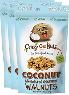 product image for Crazy Go Nuts Walnuts - Coconut, 4.5 oz (3-Pack) - Healthy Snacks, Vegan, Gluten Free, Superfood - Natural, Non-GMO, ALA, Omega 3 Fatty Acids, Good Fats, and Antioxidants