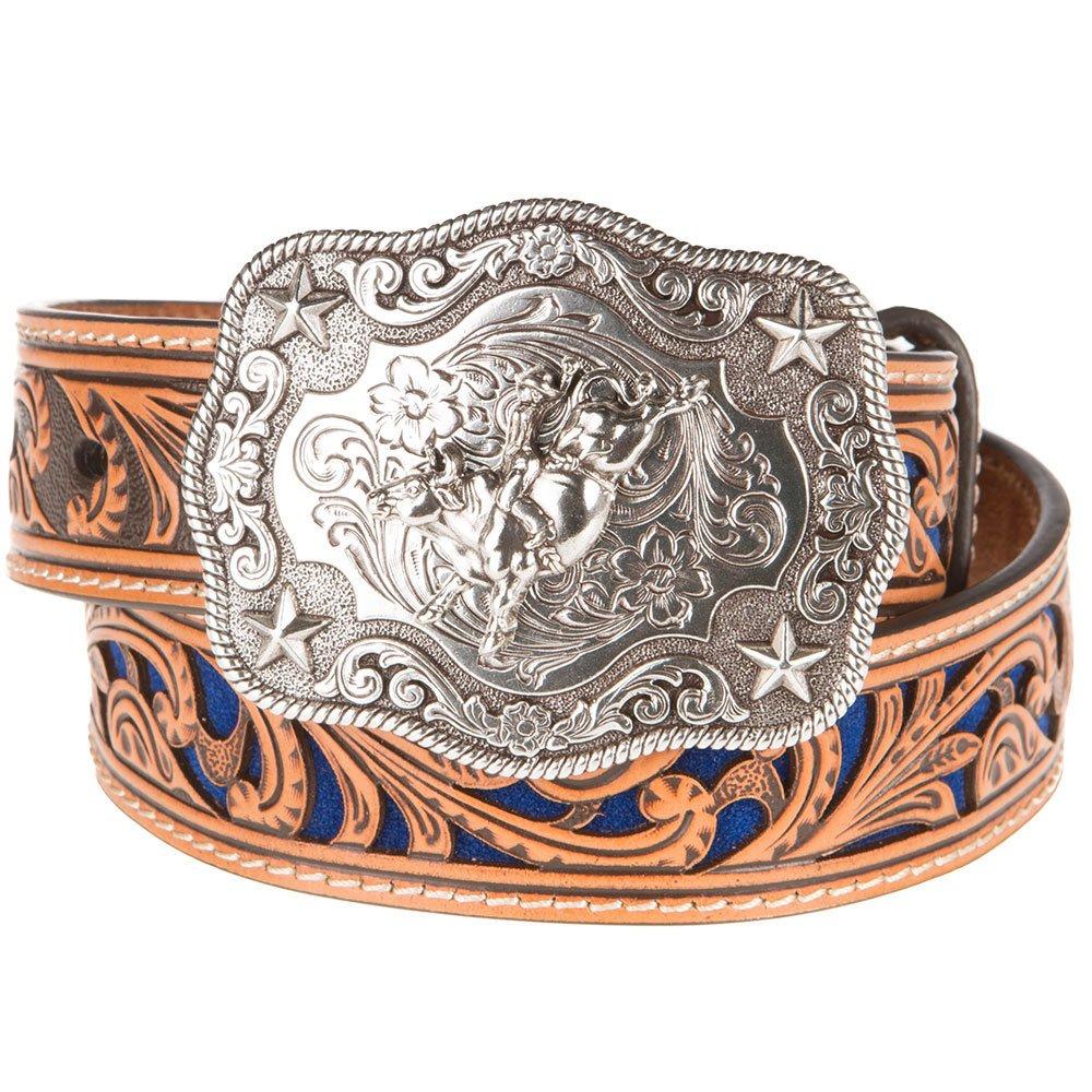 M+F Western Products Boys Boys Belt With Blue Inlay Scroll 22 Brown