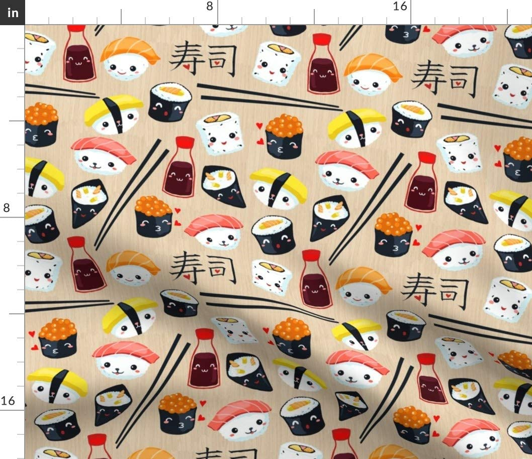 Spoonflower Fabric - Kawaii Sushi Japan Food Japanese Printed on Petal Signature Cotton Fabric by The Yard - Sewing Quilting Apparel Crafts Decor