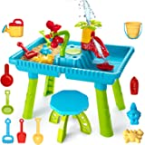 TEMI Kids Sand and Water Table, Toddler Activity Table Sandbox Toy Sensory Table Outdoor Toy Beach Play Table 27 Pcs Accessor