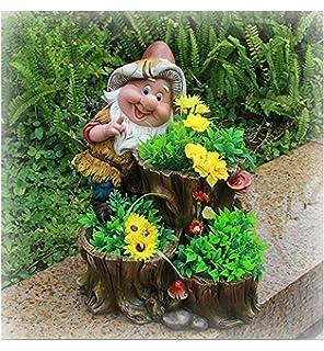 Diseño enano hongo con cabeza de flor NF 15199 32 cm Alto jardín Deko enano figuras enanas decoración varios diseño: Amazon.es: Jardín