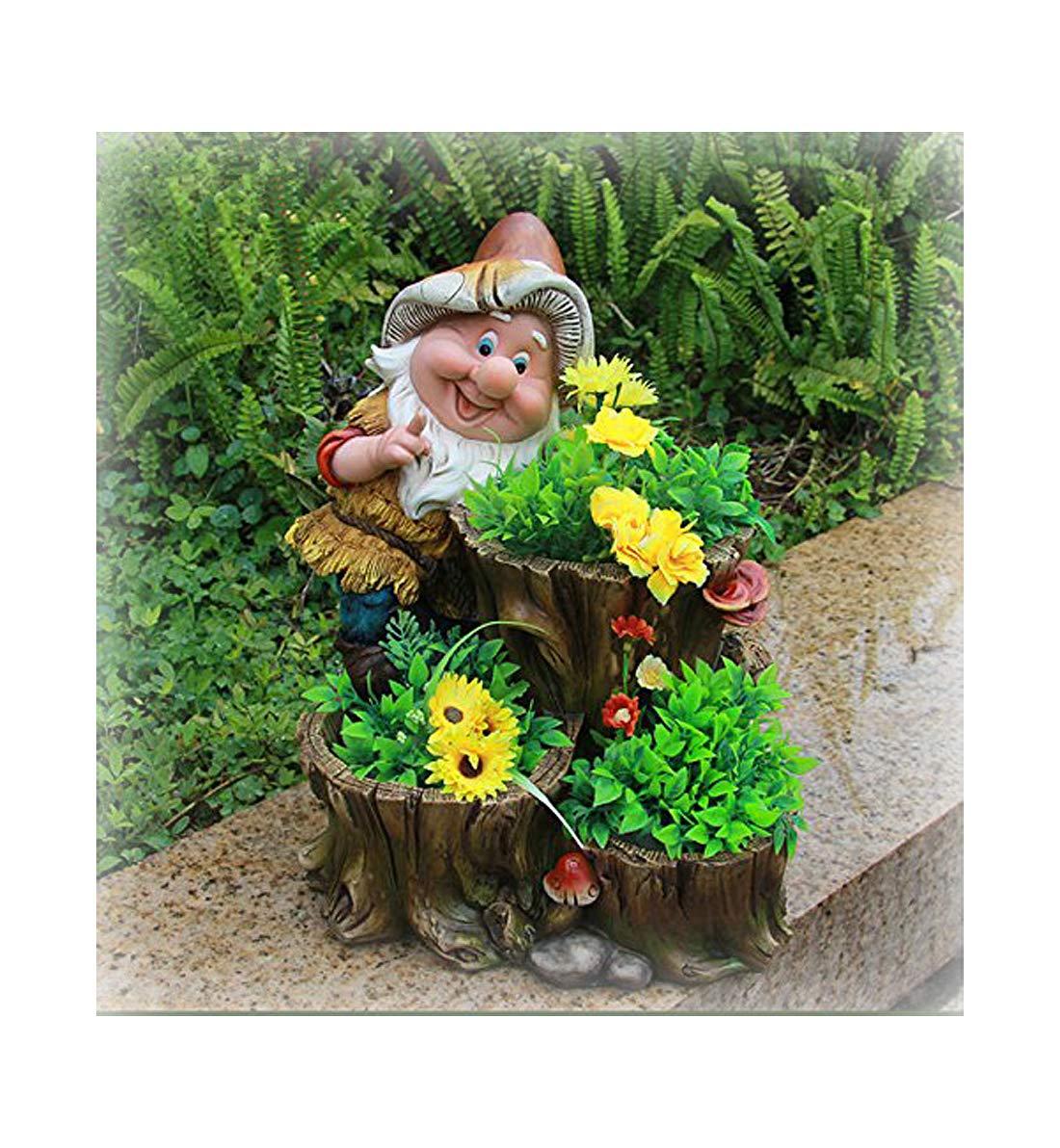 Gnomo de diseño XL con 3 macetas de 27 cm de Altura NF 15195 para decoración de jardín