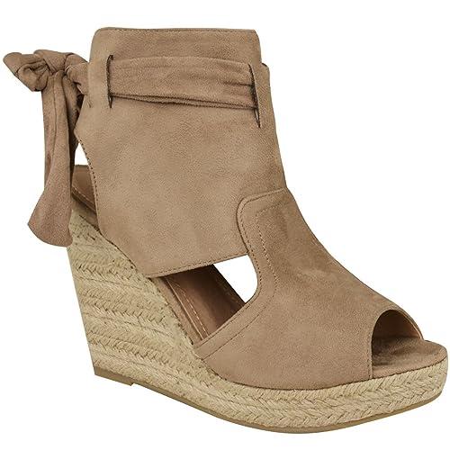 Heelberry - Alpargatas de Estilo botín - para Mujer - Cuña Alta de Esparto: Amazon.es: Zapatos y complementos