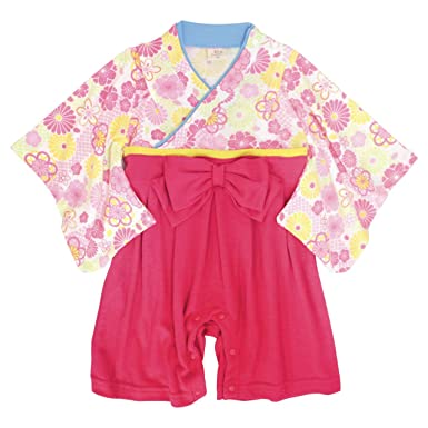 95b1154e67edb 袴 ロンパース 赤ちゃん はかま 和装 カバーオール ベビー 女の子 フォーマル ピンク 60cm