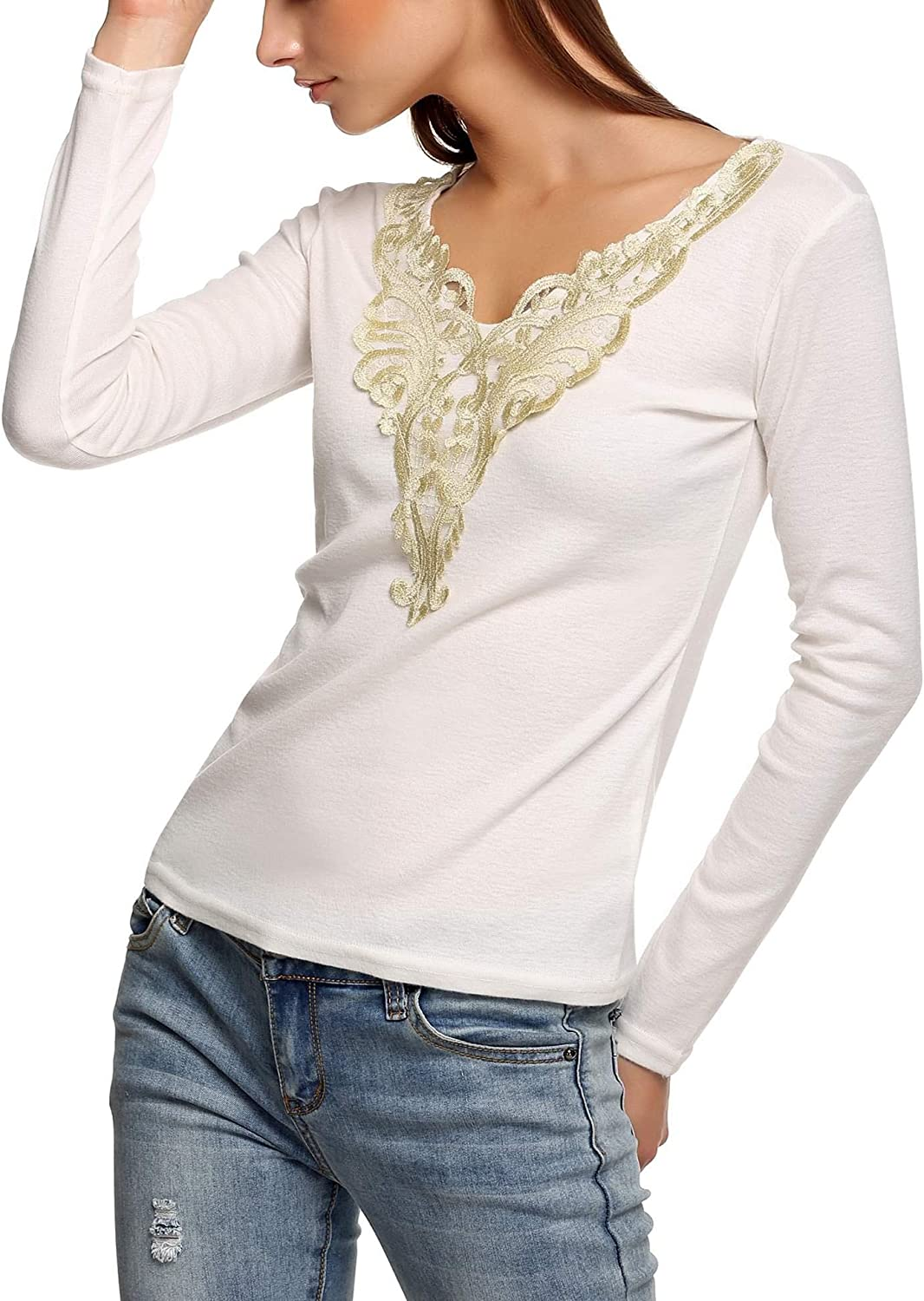 kionme Women Elegant Casual Cold Shoulder Hollow Out Lace-Up Solid Pullover Blouse Top Blouses