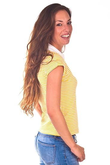La Martina Poloshirt kurzarm - weißer Kragen kleine blaue Reiter Gelb/Weiß  gestreift R11, size:S: Amazon.de: Bekleidung