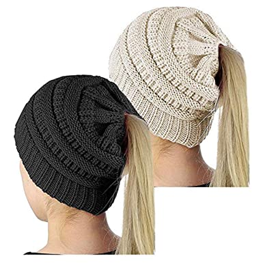 Image Unavailable. Image not available for. Color  2 Pack Beanie Hat Women  Knit Winter Hat Knit Slouchy Beanie Hat Stretch Ponytail Messy Bun d72bf2cec035