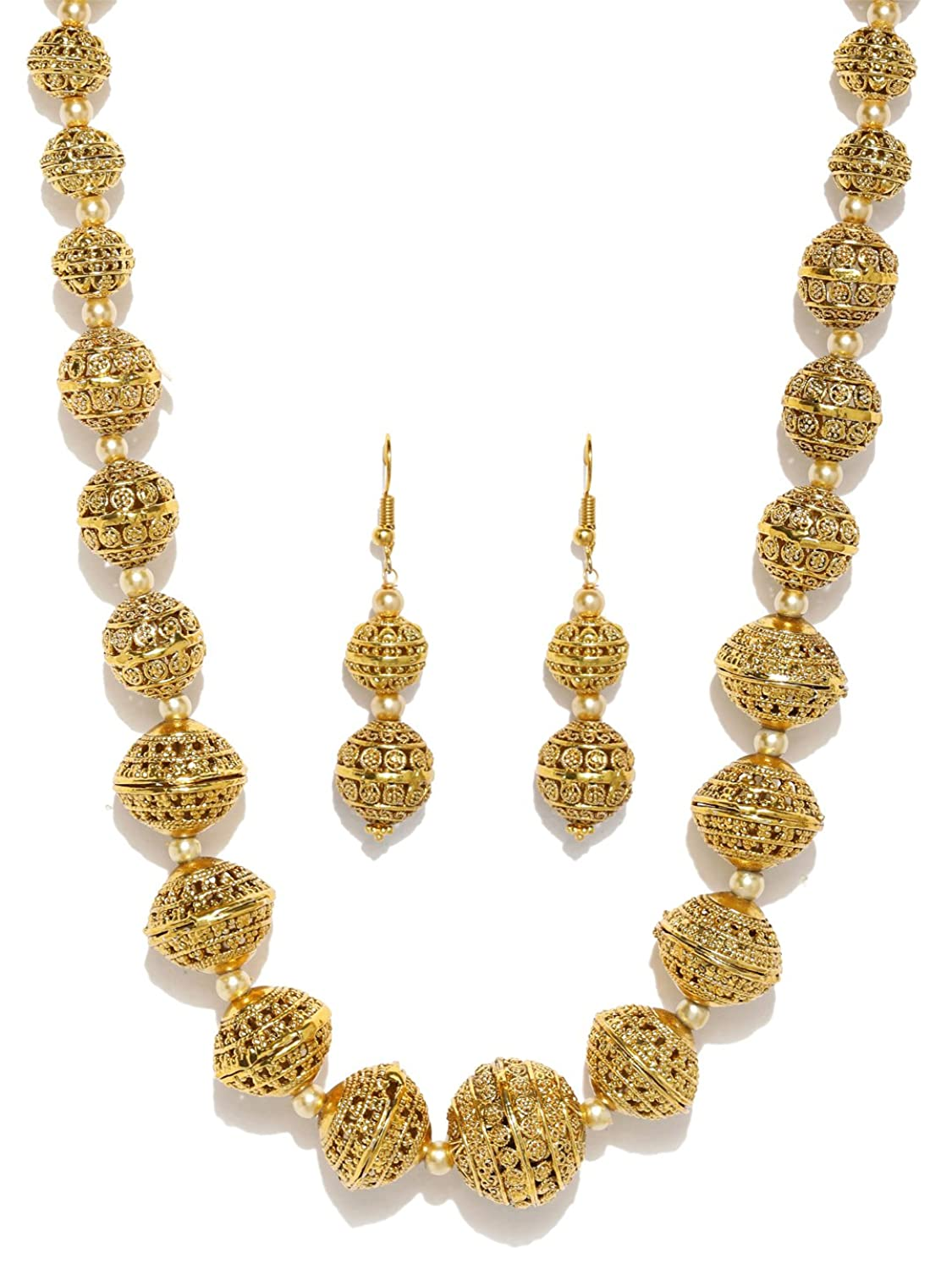 Buy Zaveri Pearls Rajwada style gold plated long beaded necklace ...