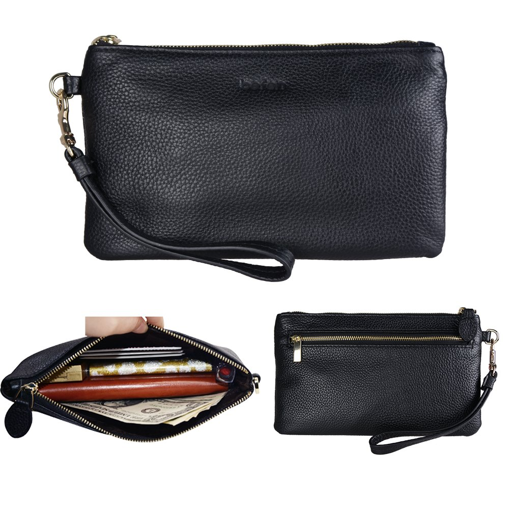 Befen Women Genuine Leather Clutch Wallet, Smartphone Wristlet Purse - Black
