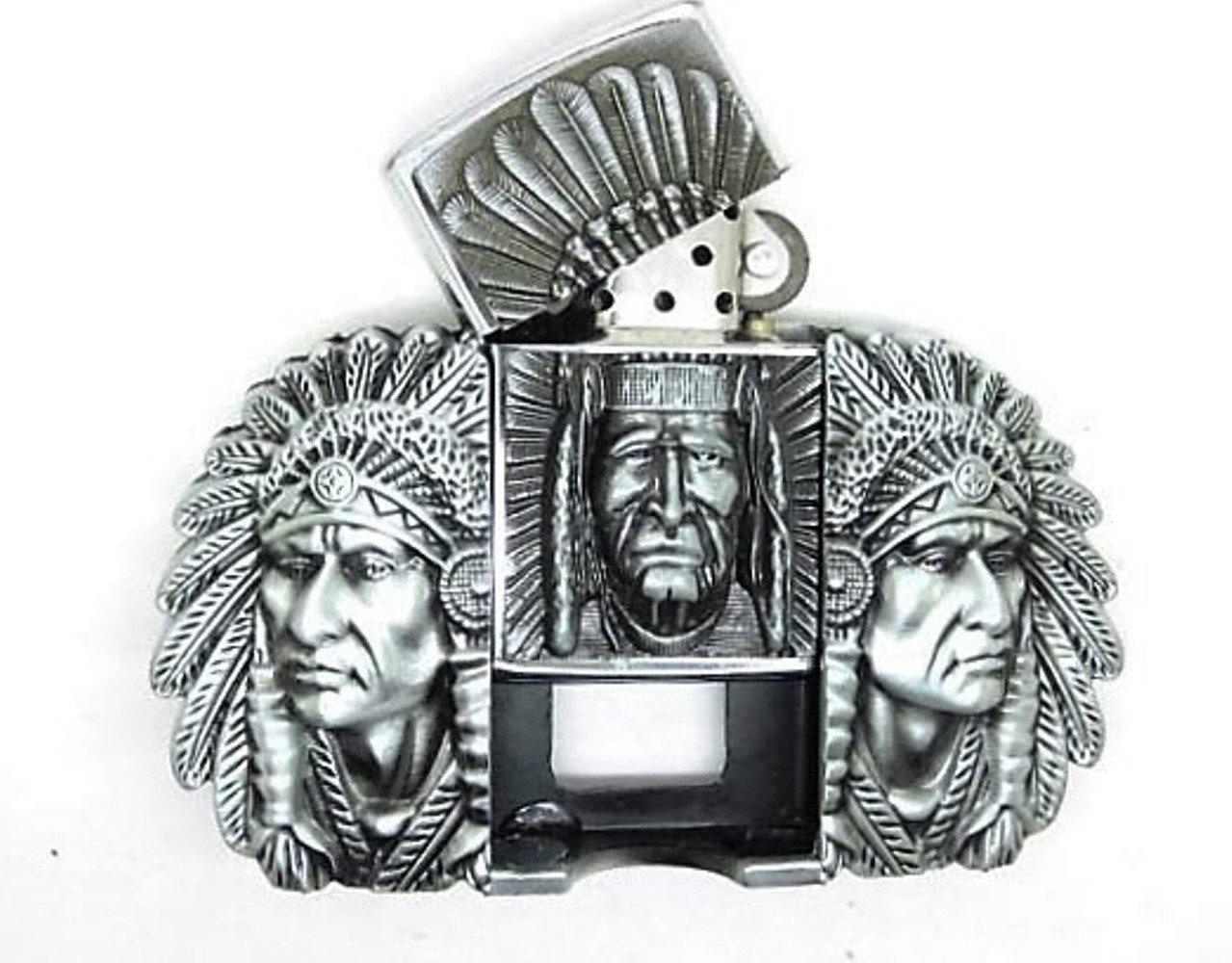 American Native Indian Lighter Metal belt buckle Choppershop