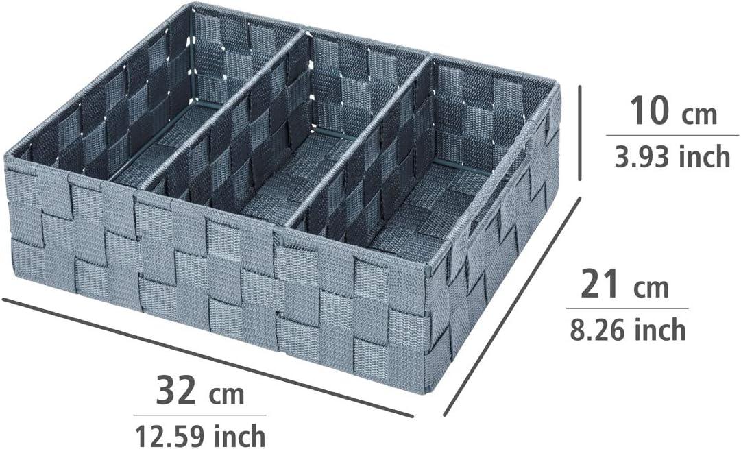 3 F/ächer WENKO 20980100 Organizer Adria Schwarz Schwarz 100 /% Polypropylen 35 x 10 x 17 cm