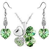 Le Premium® Boucles d'oreilles cristal Pendentif coeur trèfle mis en Peridot vert