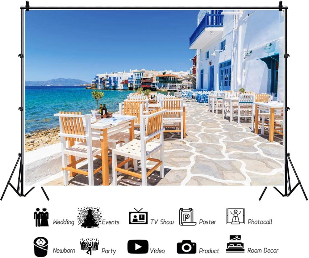 YEELE Scenic Greece Backdrop 15x10ft Typical Greek Tavern in Little Venice Photography Background Europe Attractions Tourism Kids Adults Artistic Portrait Photoshoot Props