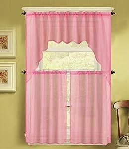 GorgeousHomeLinen (K66) 3 PC Solid Voile Rod Pocket Kitchen Window Sheer Curtain Set 2 Tier Panels, 1 Swag Valance (Light Pink)