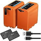 Vemico NP-F970 Battery NP F980/F960/F530/F550/F570/F730/F750/F770/F930/F950 Battery Series 2x7800mAh 4 LED Light Micro USB Cable for HDR-AX2000E/DCR-VX2100E/FDR-AX1E/HXR-NX3 Camera Battery