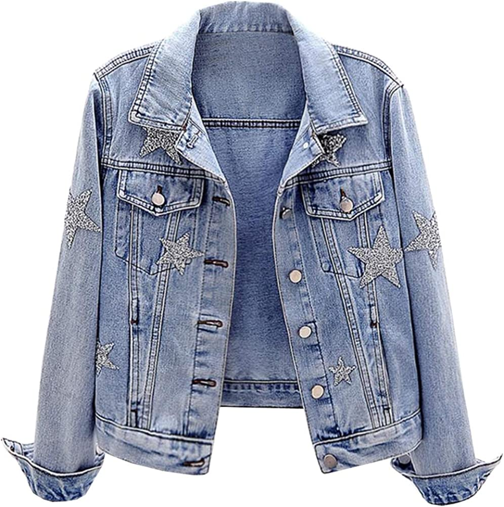 SCOFEEL Toddler /& Kids Girls Denim Jacket Button Down Jeans Jacket Top with Pearls