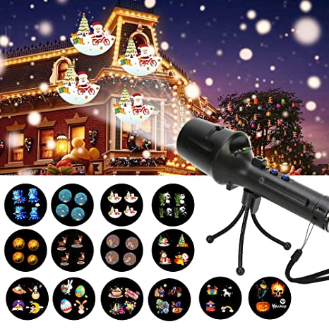 handheld projector lights led christmas projector lights with 14pcs switchable film slides 2 in - Led Christmas Projector