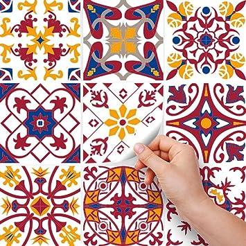 Adhesivo Decorativo para Azulejos para ba/ño y Cocina Sopron Collage de Azulejos Stickers Azulejos 72 Piezas Adhesivo para Azulejos 10x10 cm PS00130