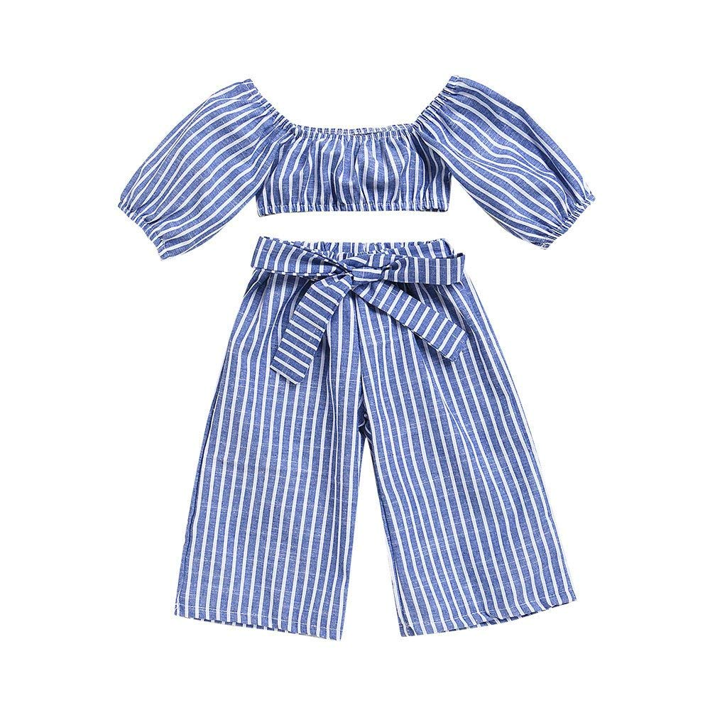 2PcsToddler Baby Girls Off Shoulder Blue StripedTopsT-Shirt+Pants Outfits Parent Toddler Baby Outdoor Clothes Set