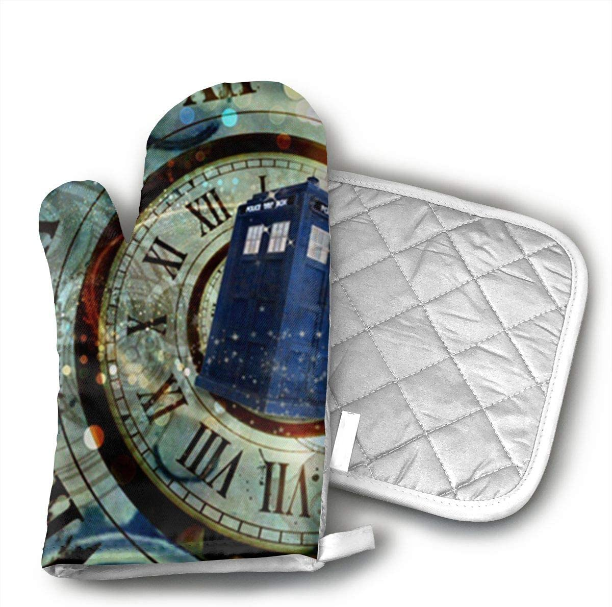 Unisex Oven Mitt and Pot Holder for Doctor Dr Who Police Box Mice Custom Design Cool Gaming Mousepd Mouse Pad Mat 12-2 Pair