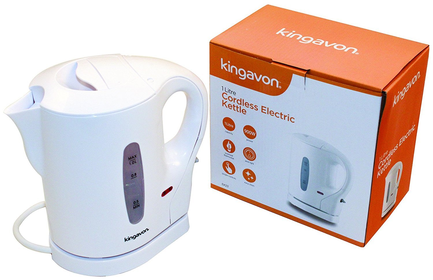 KINGAVON Cordless Kettle, 1 Litre, 900 W, White [Energy Class A] UKASNHKTN10696