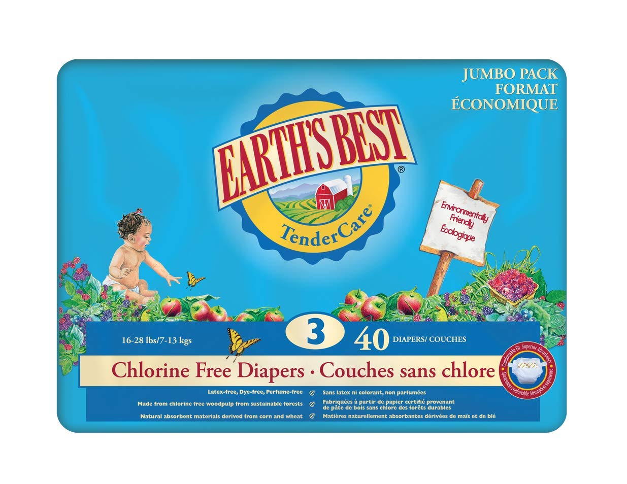 Earth's Best Chlorine Free Diapers - Stage 3 40 Count Earth' s Best