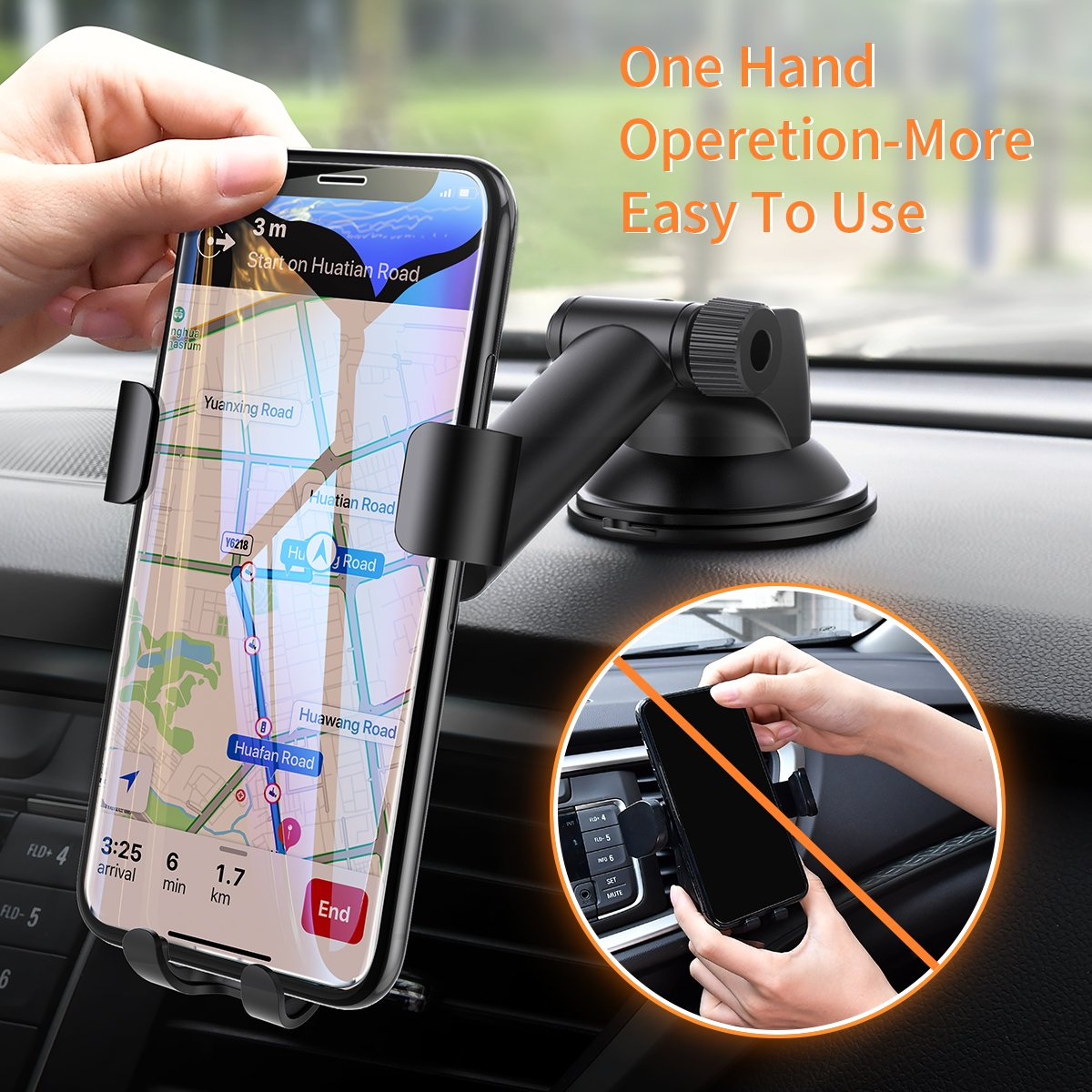 Cell Phone Holder Car, Universal Dashboard Cell Phone Holder Gravity Auto-Clamping Car Cradle Mount Adjustable Car Holder Phone X/ 8/7/ 6s/ Plus, Galaxy S9/ S8/ S7 Edge - Ainope by Ainope (Image #5)