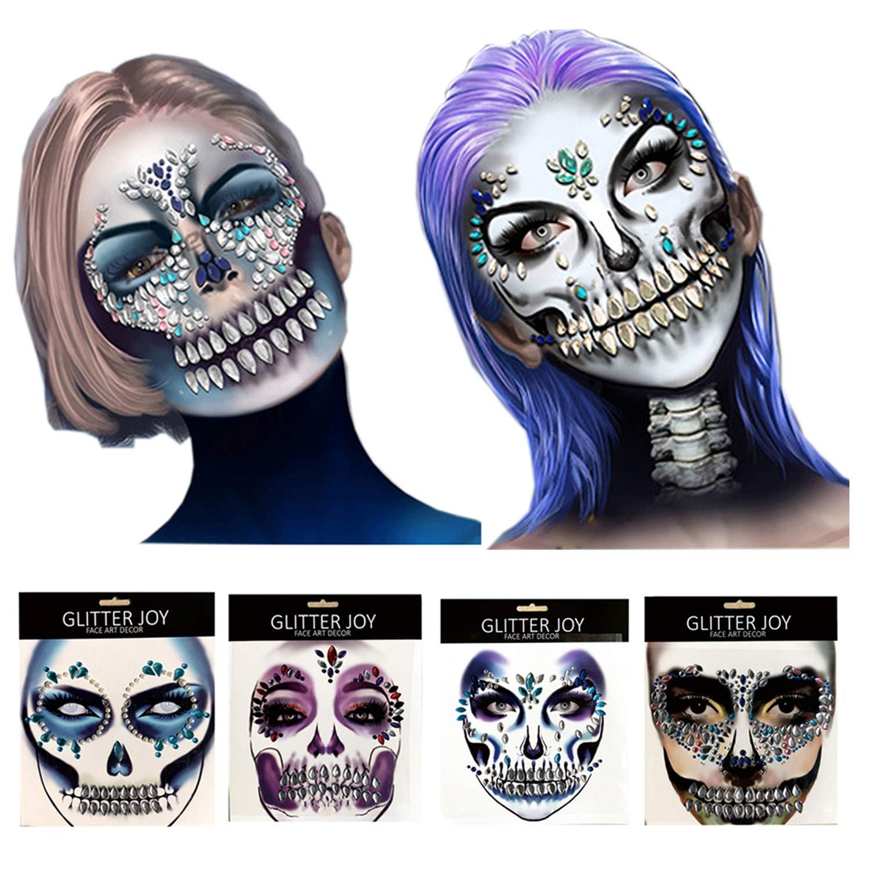 Day Of The Dead 4 Pcs Sugar Skull Face Temporary Tattoo Sticker,Halloween Face Gem Jewel Sticker