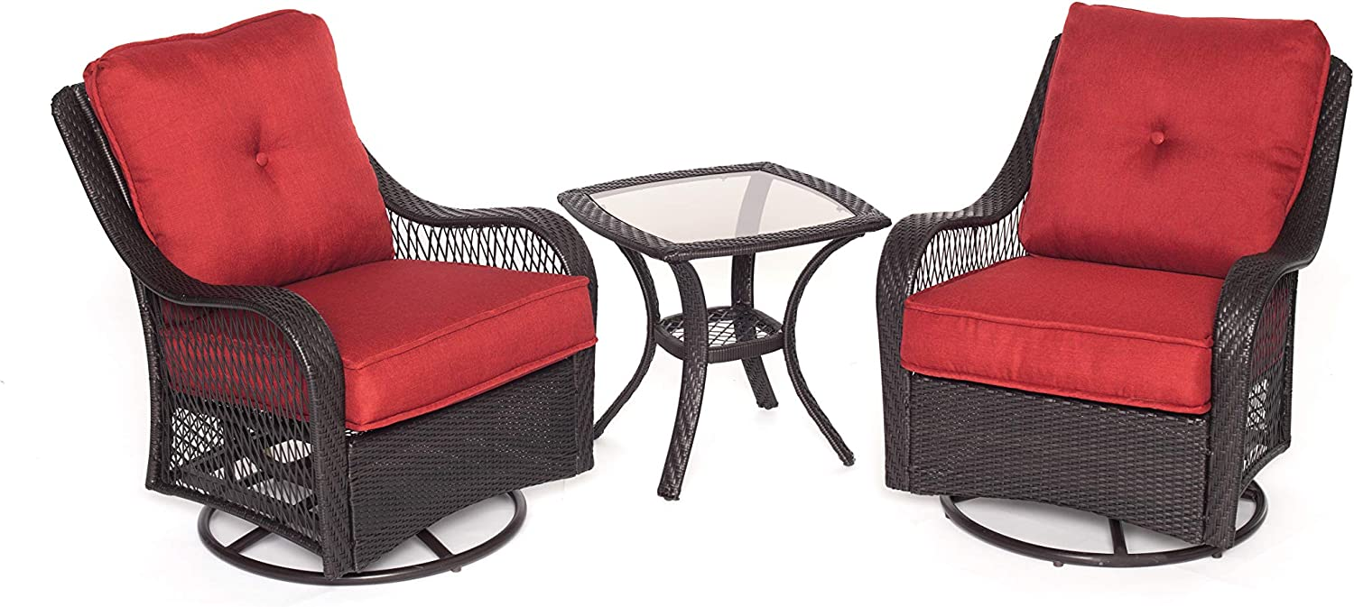 Hanover ORLEANS3PCSW-B-BRY Orleans 3 Piece Swivel Rocking Chat Set, Autumn Berry Outdoor Furniture