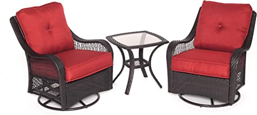 Hanover ORLEANS3PCSW-B-BRY Orleans 3 Piece Swivel Rocking Chat Set