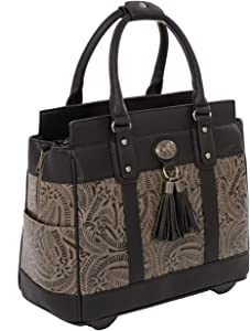 """THE DALLAS Black & Grey Tooled Rolling iPad Tablet or Laptop Tote Carryall Bag (15.6, 17""""/17.3"""" inch)"""