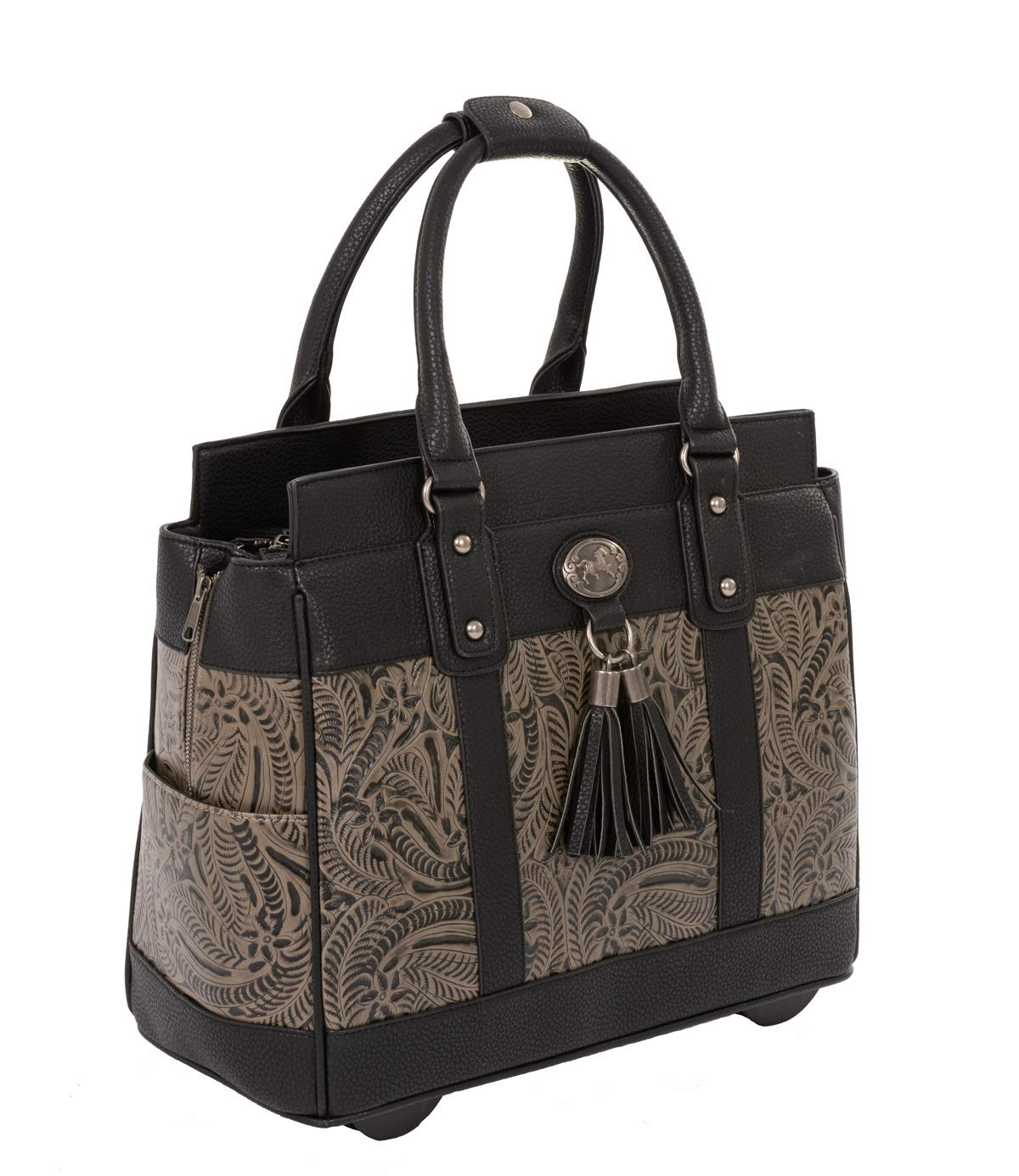 ''The Dallas'' Black & Grey Tooled Rolling iPad Tablet or Laptop Tote Carryall Bag