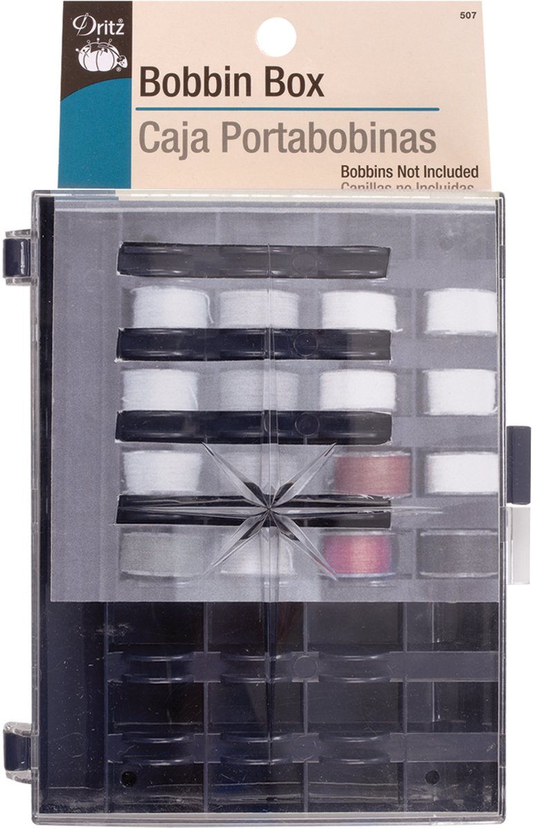 Dritz 505 Box with Foam Insert, Holds 32 Bobbins (not Included)