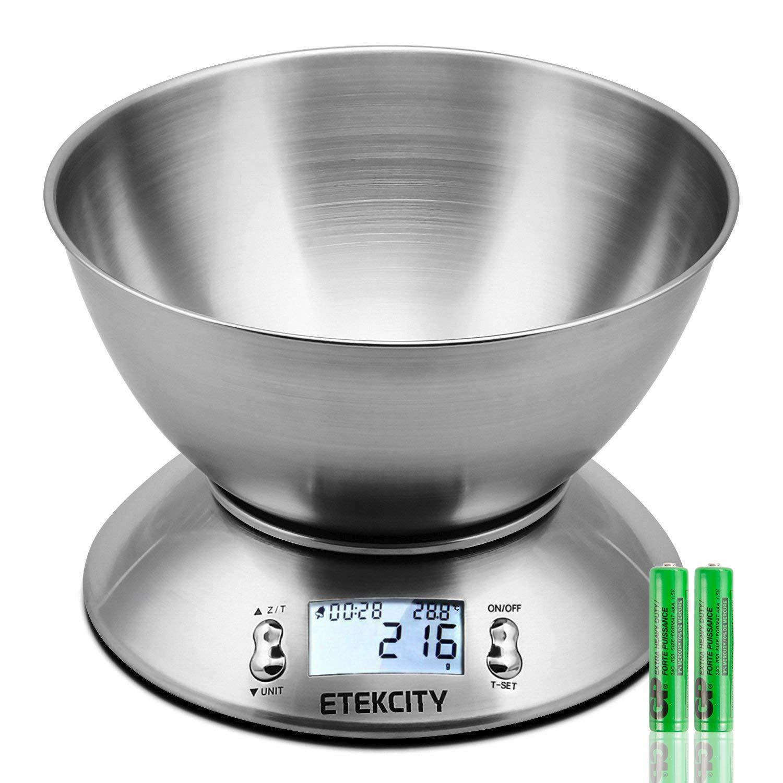 ETEKCITY HDC2-ORC-Etek – 5 kg Báscula de Cocina Digital, Plata, 4150. Por ETEKCITY