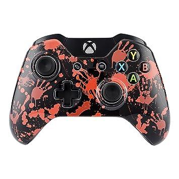 eXtremeRate Funda Delantera Carcasa Protectora de la Placa Frontal Cubierta Antideslizante para el Mando del Xbox One Original Mano de Sangre
