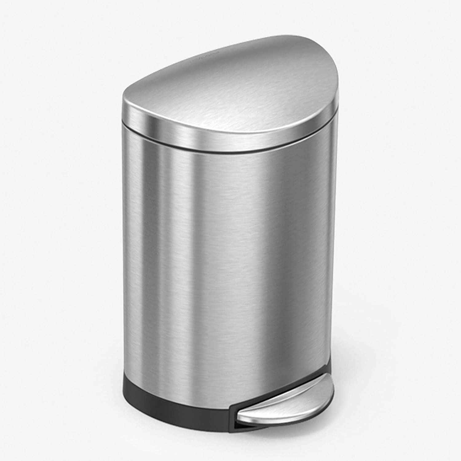 Amazon Com Simplehuman 6 Liter 1 6 Gallon Semi Round Bathroom Step Trash Can Brushed Stainless Steel Home Kitchen