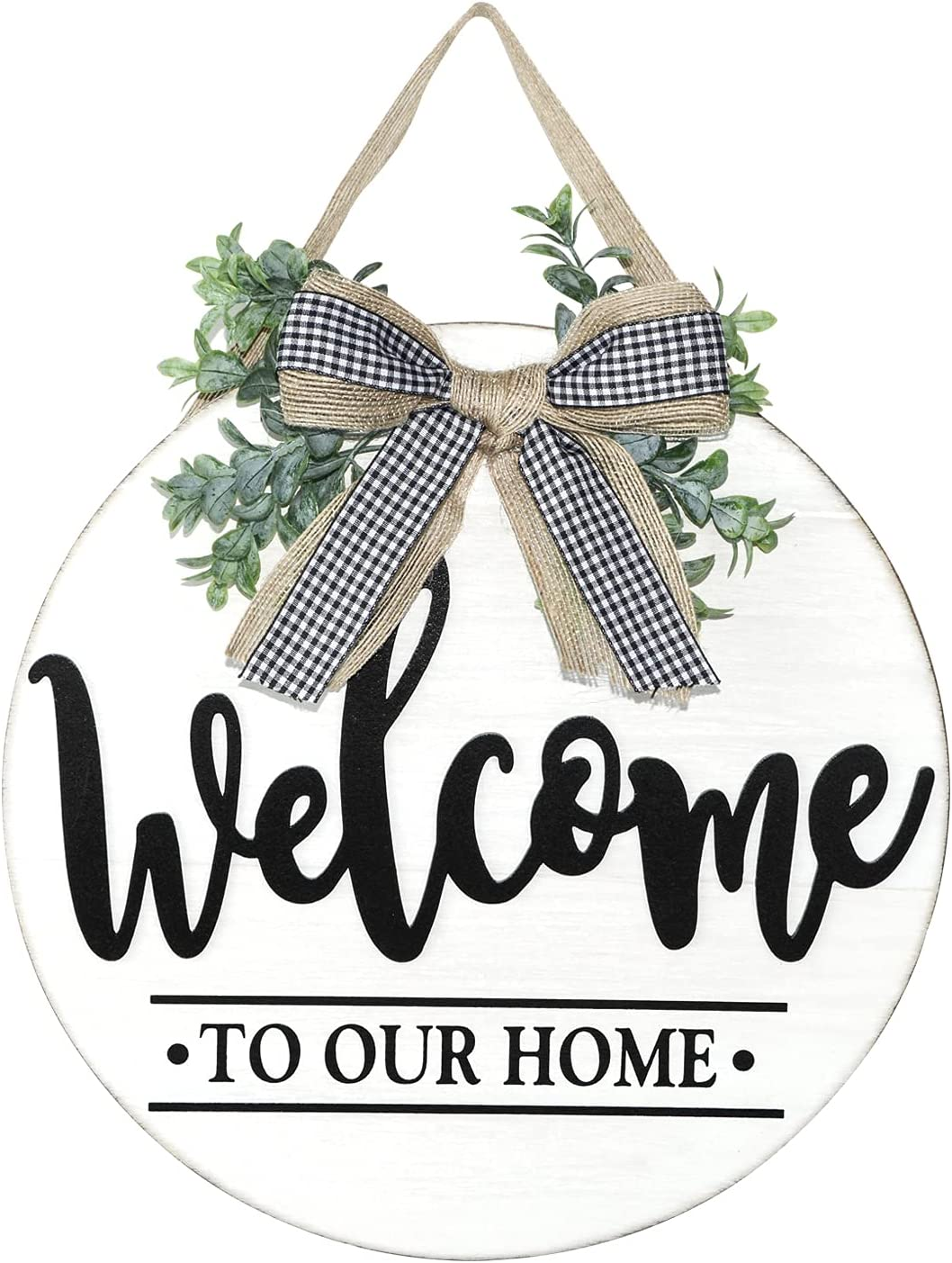 Winder Welcome Sign for Front Door Porch Farmhouse Rustic Wreath Wall Hanging Wooden Outdoor Garden Yard Decor Round Home Decorations