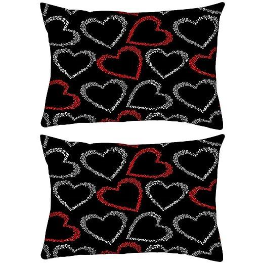 Pack de 2 rojo y gris corazones Rectángulo Toss Throw Pillow ...