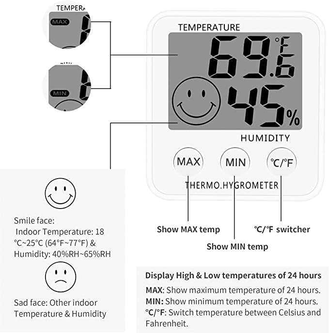 2 Pack SoeKoa Digital Thermometer Indoor Hygrometer Humidity Meter Room Temperature Monitor Large LCD Display Max//Min Records for Home Car Office White