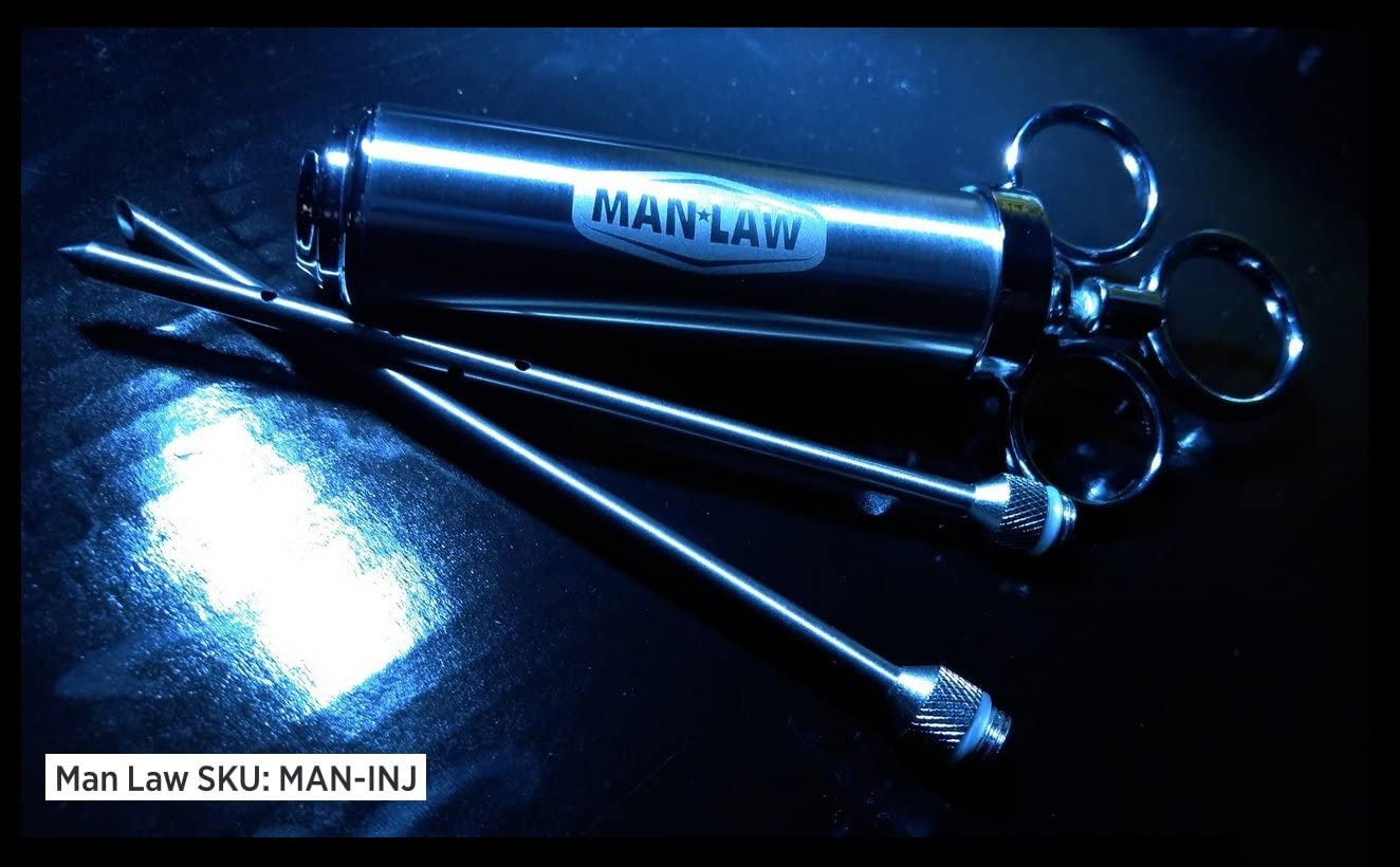 One Size Man Law BBQ Products Man-INJ Basting//Seasoning Series 2.0 Ounce Marinade Injector-Stainless Steel