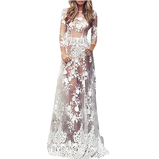 6e39b3a238f36 Maxi Dress, Women Sexy Semi-Sheer Lace Crochet Floral Long Dress ...