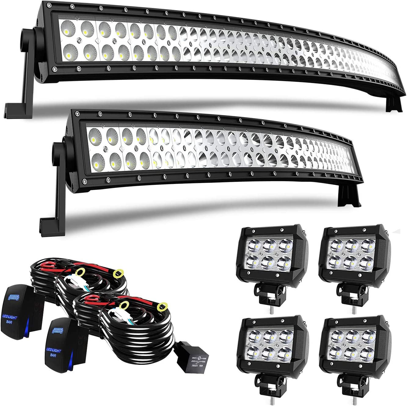 52Inch LED Light Bar Combo 4x Rock Lights Multi-Color Offroad SUV 50 3in Pods