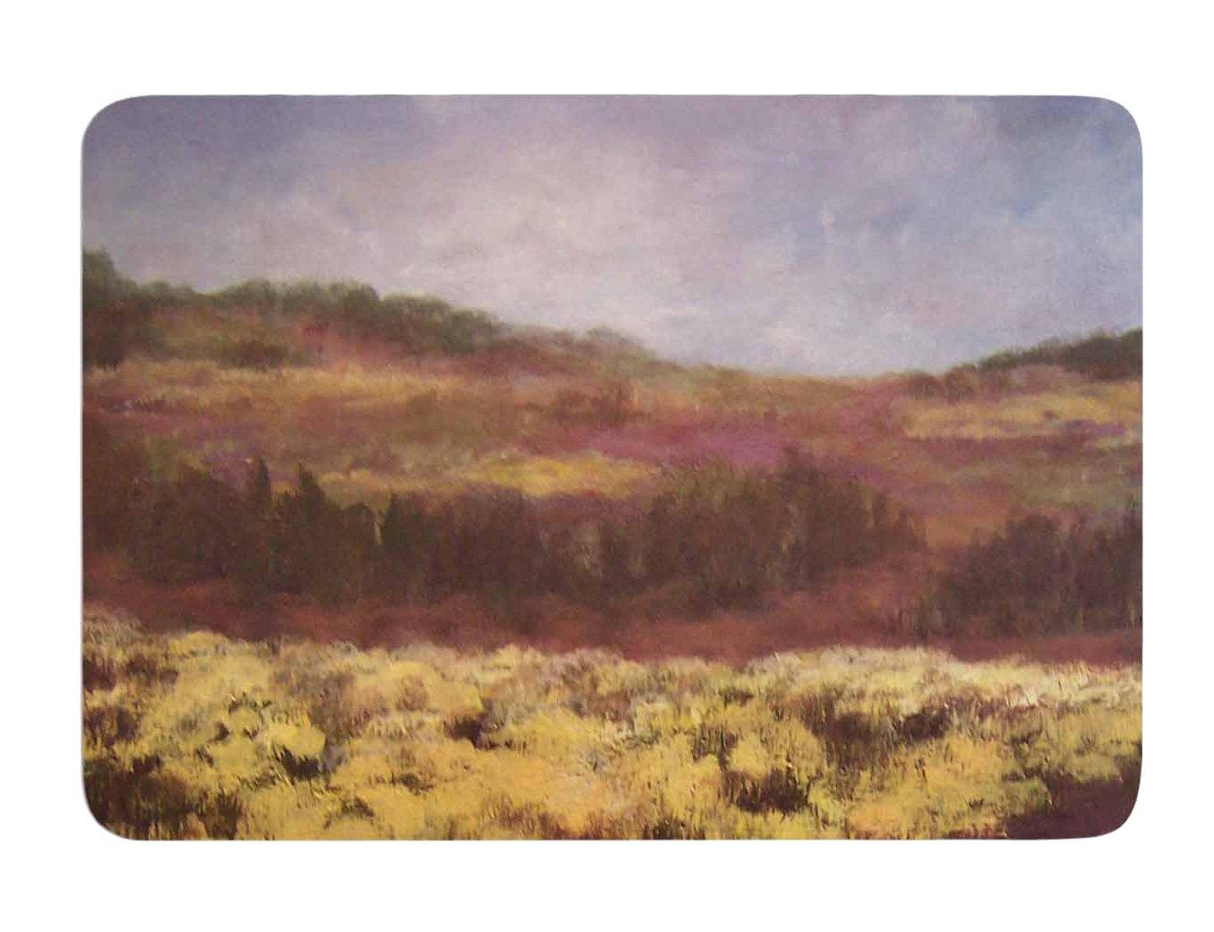 17 X 24 Kess InHouse Cyndi Steen Field of Yellow Brown Green Memory Foam Bath Mat 17 by 24-Inch